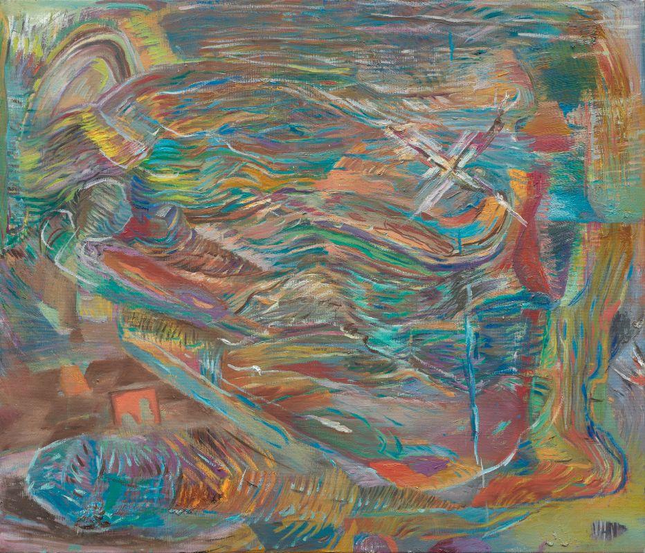 Wellen,Walzen1,2019,Öl auf Leinwand,60x70cm