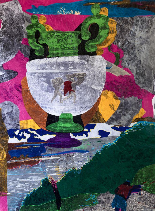 Diana,2014,Foliencollage,184x136 cm
