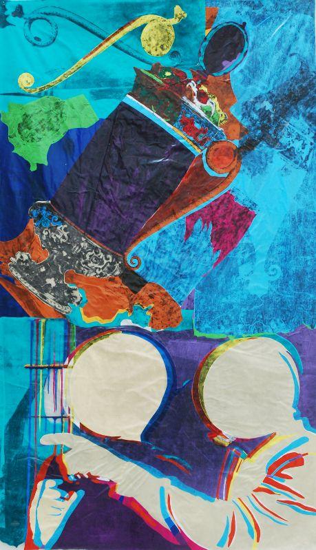 Ping Pong,2014,Foliencollage,197x123cm,Privatbesitz