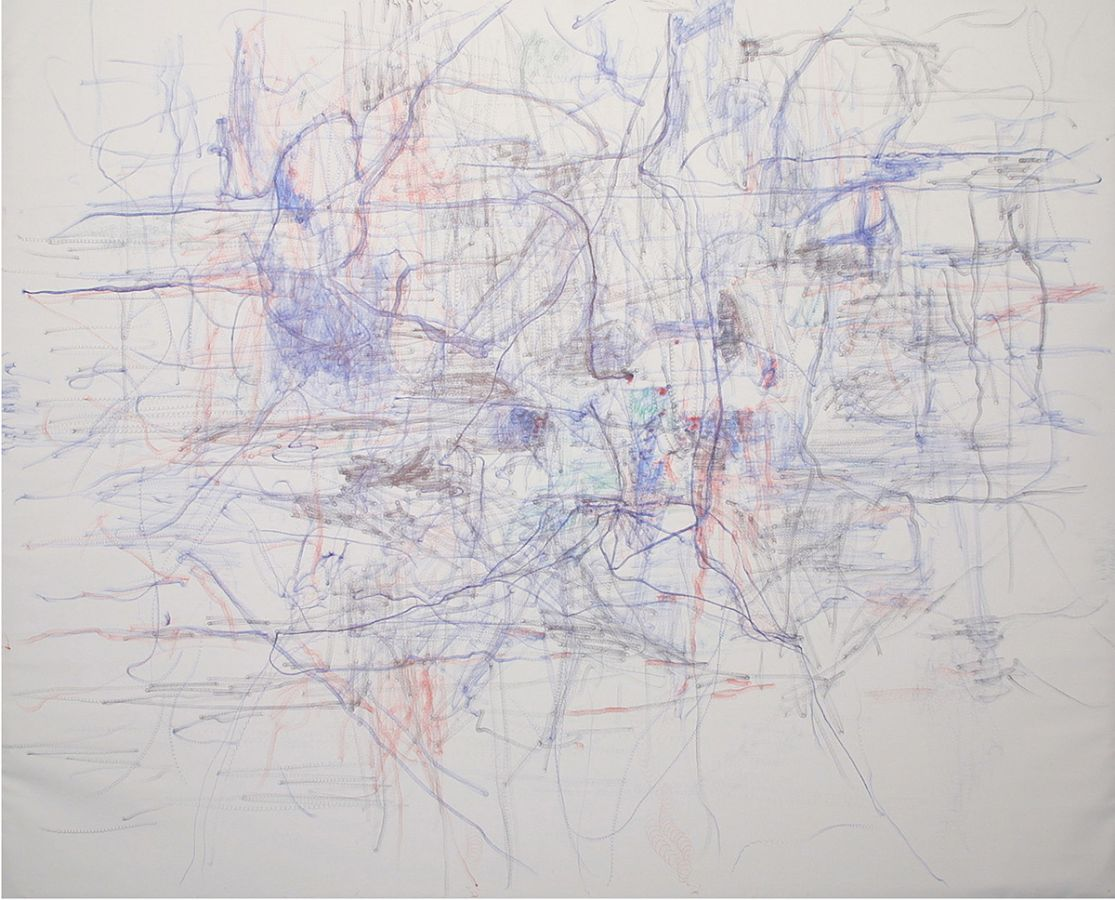 o.T., 2001,Kugelschreiber auf Leinwand,90x160cm