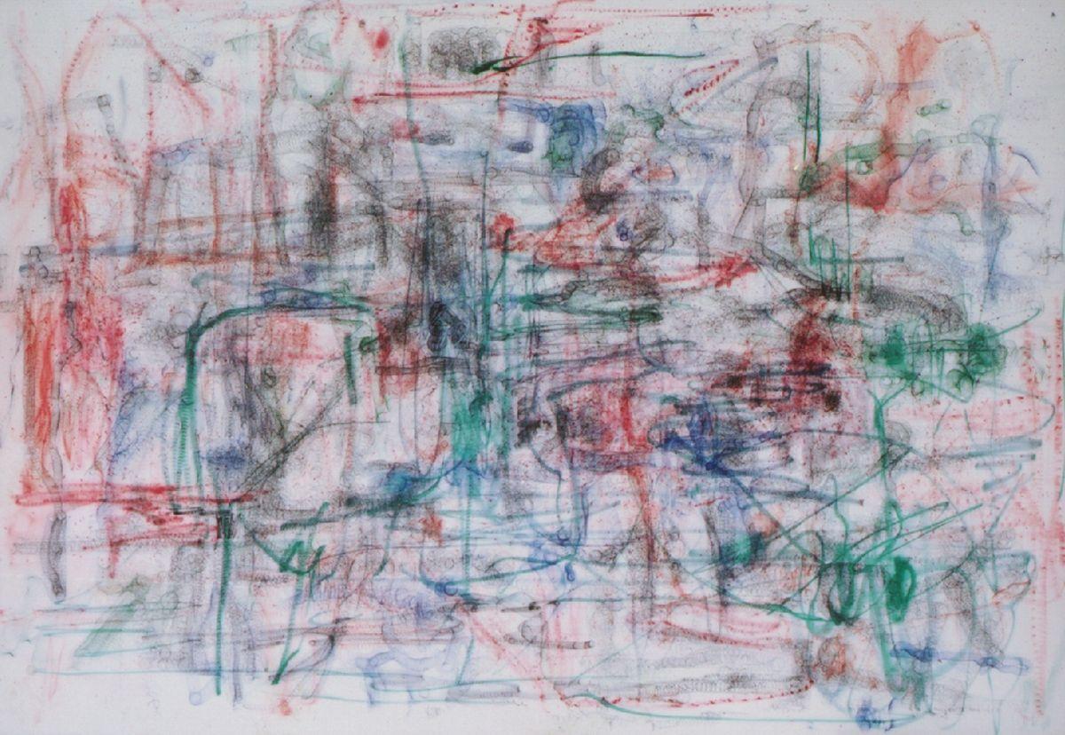 o.T.2001,Kugelschreiber/Filzstifte auf Leinwand,110x160cm
