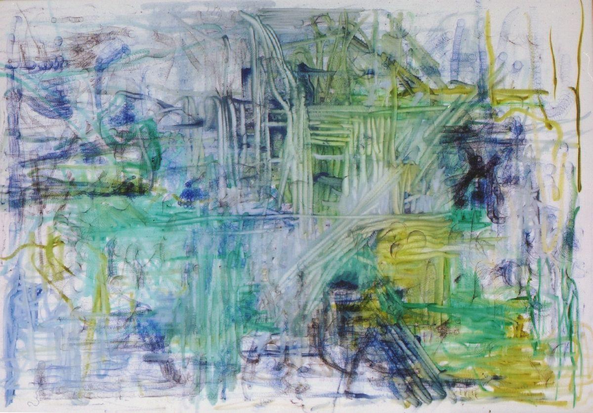 Zwischen den Flüssen,2001,Kugelschreiber/Filzstifte auf Leinwand,96x11cm