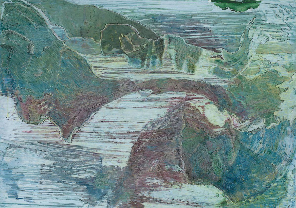 Brücke,fehlendes Wasser,2018,Schellacktusche auf Fotopapier,21x29.7cm
