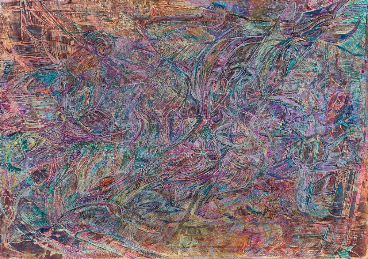 o.T.,2019,Schellacktusche auf Fotopapier,42x59.4cm