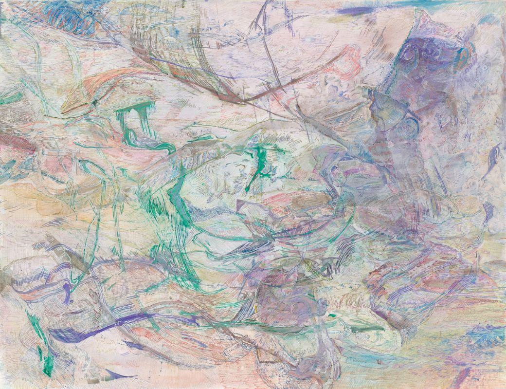 Gleitsicht,2020,Schellacktusche auf Papier,50x65cm